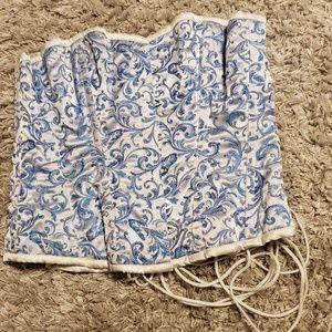 Tops - Blue & White Corset, Size 34 - Steel Boning